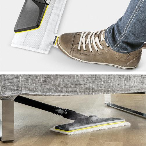 Kit de curățare a podelei EasyFix cu garnitura flexibilă pentru duza de podea și înlocuirea lavetei murdare fără a intra în contact cu murdăria, datorită sistemului inovativ de fixare.